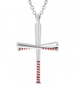 Baseball Bat Cross Necklace