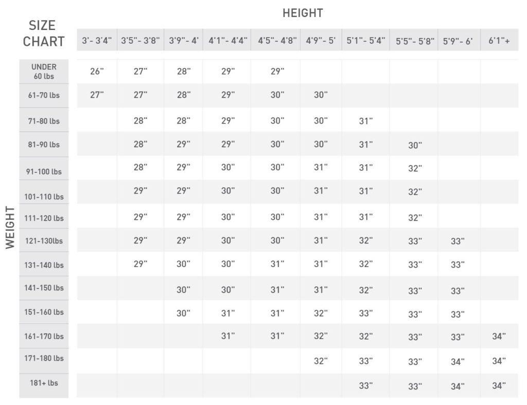 DSG Bat Size Chart