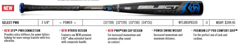 2 5//8 BBCOR Baseball Bat Series Louisville Slugger 2020 Select PWR -3